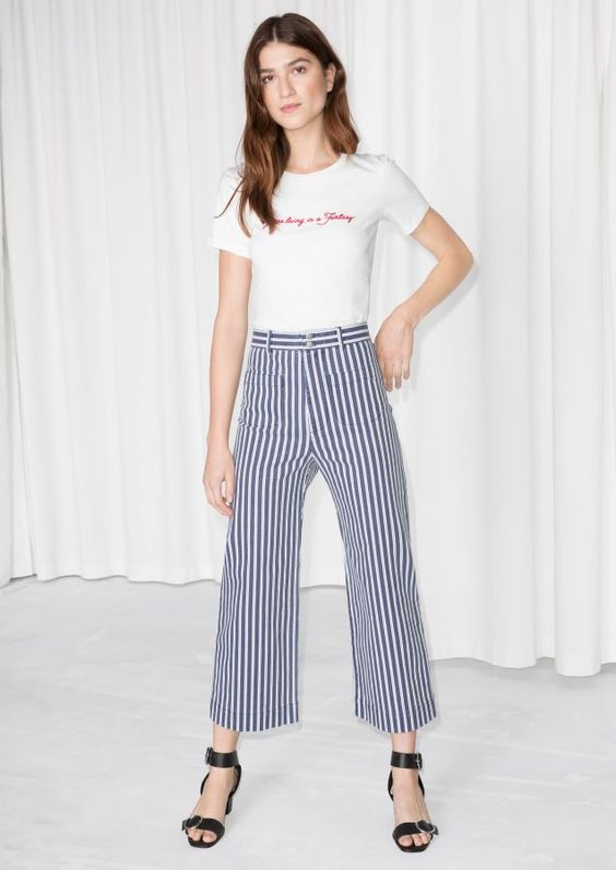 & Other Stories image 2 of High Waisted Twill Trousers in Blue Stripe