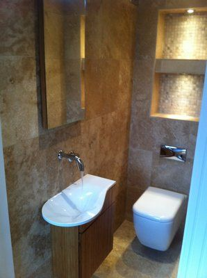 Downstairs toilet in knowsley lighting up shelves nice for Downstairs bathroom ideas