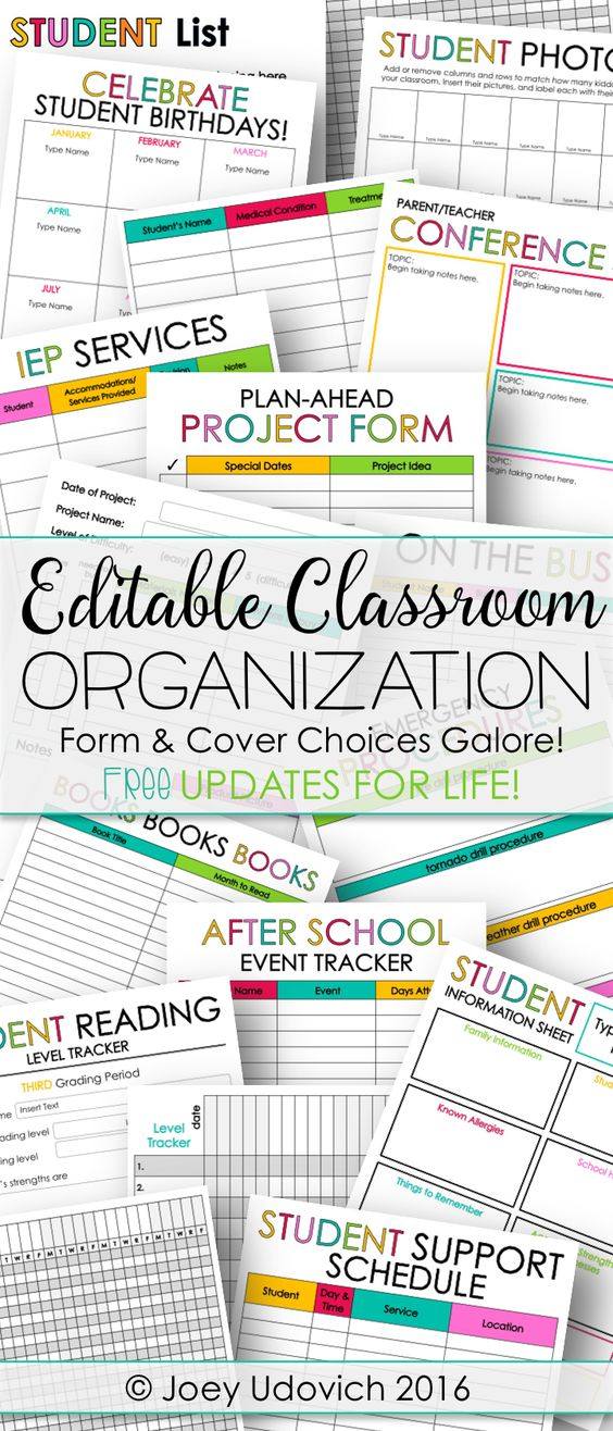 Classroom Organization couldn't be easier!! Completely editable forms in both color and black and white, over 250 cover choices, updated calendars, and MUCH MORE!! Click to see how I get organized!                                                                                                                                                     More