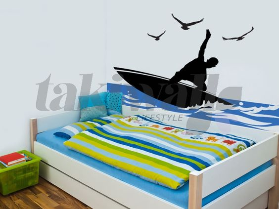 Surfing murals surf paris sticker mural autocollant for Autocollant mural chambre bb