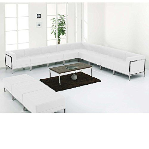 $$>  MFO Immaculate Collection White Leather Sectional & Ottoman Set, 12 Pieces