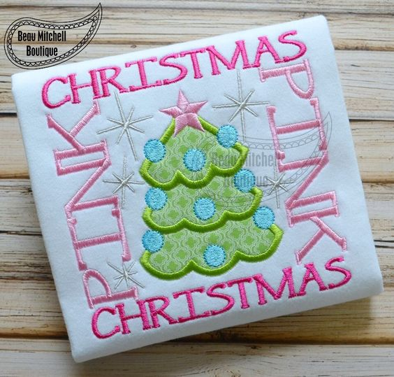 Pink Christmas Tree square applique embroidery design by BeauMitchellBoutique on Etsy https://www.etsy.com/listing/203742985/pink-christmas-tree-square-applique