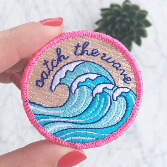 Surf - Wave Patch, Beach Vibes, Embroidered Iron On, Applique, Embroidered Patches, Applique, Wildflower + Co. DIY ------------------------------------------------ Catch the wave! Vibrant colors of bright pink, turquoise, & aqua blue. 100% embroidered patch with a merrowed edge. Use this patch for an instant update on just about anything! Wildflower + Co. patches feature iron-on backings & ship with instructions. • Measures approx. 2 round • Designed by & exclusive to Wildflower + Co. •…