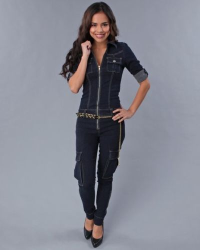 Details about BABY PHAT Womens Denim Jumpsuit * ZIP UP LEG ...