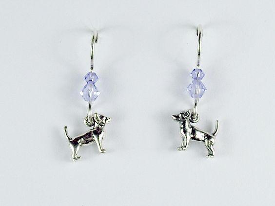 Sterling silver tiny chihuahua dog dangle Earrings-blue crystal, chihuahuas,K9