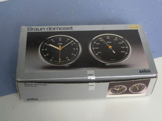 Braun Domoset AWB 21 set, Uhr mit Barometer im org. Karton, Design D.Lubs, 1980
