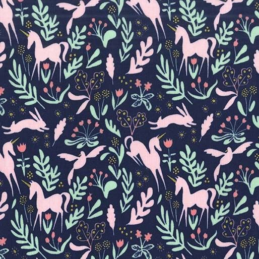 Fabric... Magic Folk with Cotton Metallic in Navy by Sarah Jane for Michael…