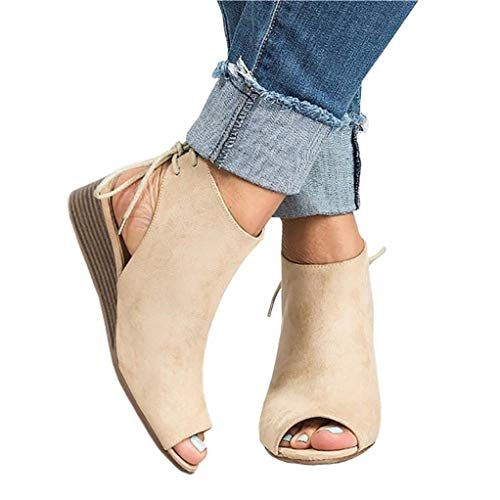 Womens Summer Buckle Low Block Heel Ankle Cut Out Moccasins Boots Shoes Size 3-8