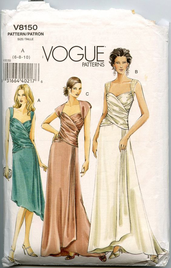 Vogue V8150 Misses Dress Pattern Draped Evening Gown Pattern ...