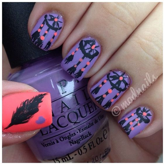 Purple dreamcatcher nails by ModNails