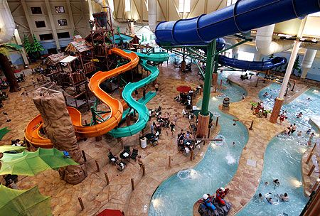 Great Wolf Lodge in Dallas. It's a little pricey, but with the right deal, it's a blast. For 2 days. More than that, and a substantial amount of wine is necessary to tolerate it.