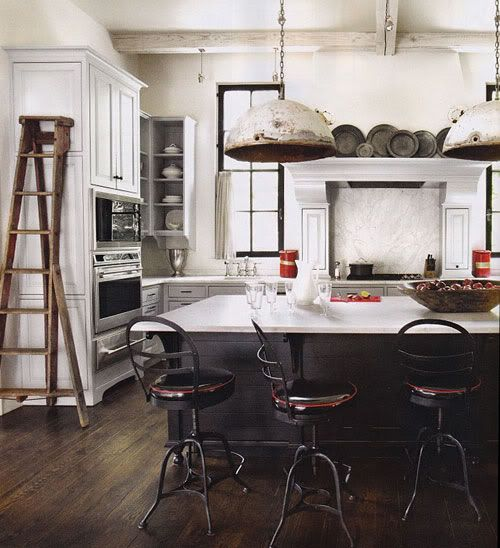 Those lights are beyond AWESOME!!  ...Oh and I like the black plates & I'd love to bring an apple picking ladder home from MI!  Basically I want that kitchen!