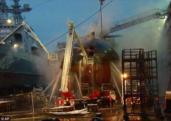 A Russian nuclear submarine that was under repair in a far northern port caught fire Tuesday, but officials said there was no danger of explosion or radiation leak, the Associated Press writes.  Here is the rest of the Associated Press article:  The fire broke out in the Zvezdochka shipyard in Severodvinsk, about 1,000 kilometres (620 miles) north of Moscow on the White Sea. After struggling for several hours to extinguish the blaze, officials finally let water into the dry dock to partly…