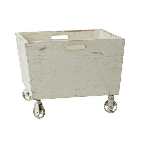 caisse roulettes en bois et m tal blanche effet vieilli. Black Bedroom Furniture Sets. Home Design Ideas