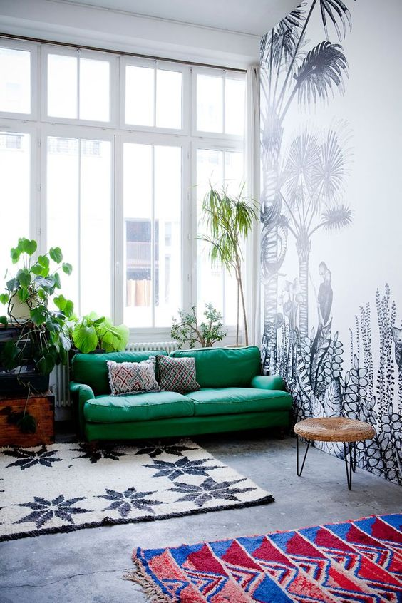 Emerald Green Sofa Against Super Cool Black And White