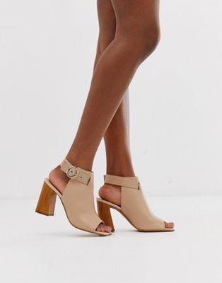 Кожаные ботинки с открытым носом ASOS DESIGN Hacienda