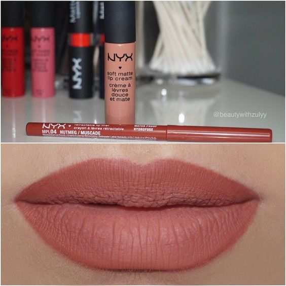 Lip combo  @nyxcosmetics lip liner in Nutmeg &  soft matte lip cream in London