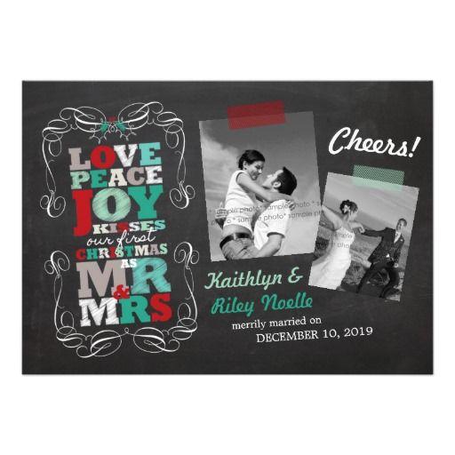 Chalkboard Mistletoe Vintage First Christmas Photo Personalized Invites