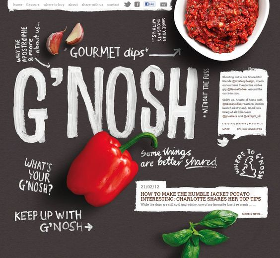A gorgeous website designed for G'nosh, a series of gourmet dips, created by the talented folks at Mystery