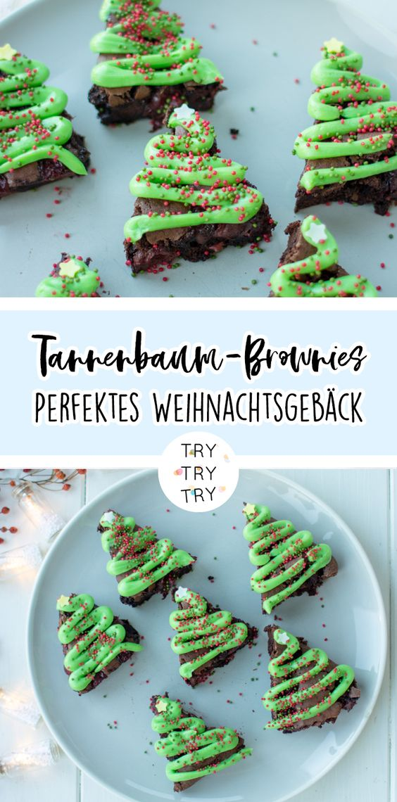 Weihnachtliche Tannenbaum-Brownies