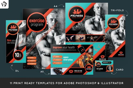 psd-and-ai-fitness-brochure-pack 15+ Fitness Brochure Template