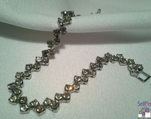 $16.25: Vintage Silver Art Deco Fancy Rhinestone Evening Costume Bracelet