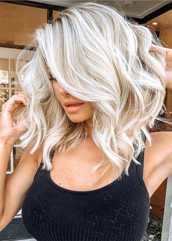 Pinterest Piriesellars2 Medium Length Hair Styles Icy Blonde Hair Hair Lengths