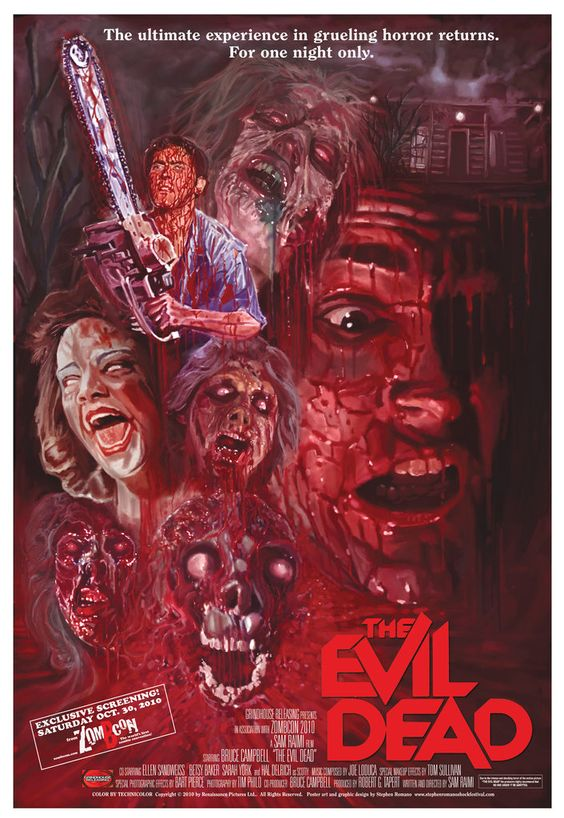 """""""Evil Dead"""" with Bruce Campbell. A cult classic. Five friends travel to a cabin in the woods, where they unknowingly release flesh-possessing demons. Photo and info credit: IMDb."""