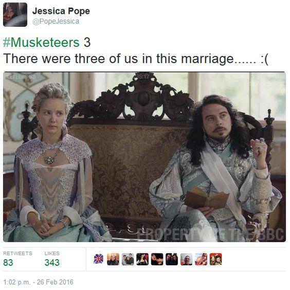 The Musketeers - Series III BtS filming via Jessica Pope's Twitter (Queen Anne & King Louis XIII)