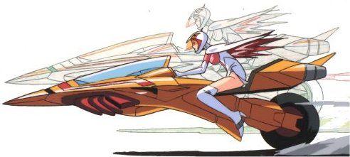オートバイ型のGマシンに乗る白鳥のジュンのかっこいい画像。