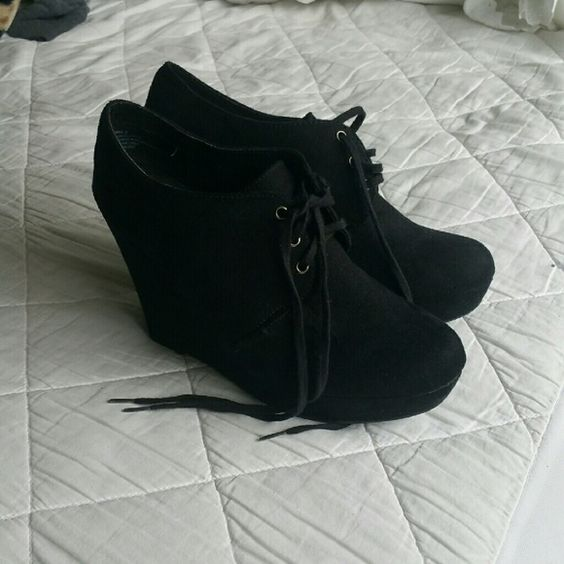 Cute black wedges There super cute! Worn twice. Black Poppy Shoes