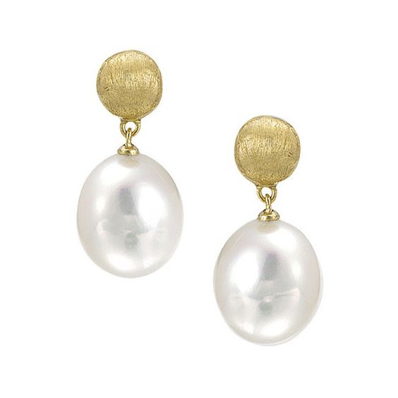 Marco Bicego Africa Yellow Gold Pearl Drop Earrings ($770) ❤ liked on Polyvore featuring jewelry, earrings, gold button earrings, post earrings, drop earrings, yellow gold pearl earrings and white pearl earrings