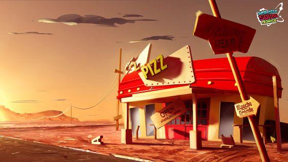 "Super Pizza Squad Fromage ""Pizzeria"", Kevin-Mark Bonein on ArtStation at https://www.artstation.com/artwork/bgEXg"