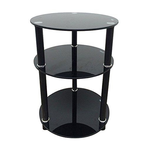 Glass Side Table 3 Tier Round Glass Side Sofa End Table Corner Stand Oragnizer Furniture Black Colors Coffee Table With Shelf Sofa End Tables Glass Side Tables