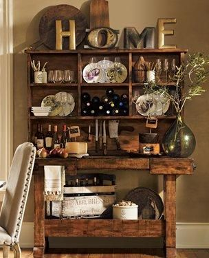 Hutch decor.: Dining Rooms, Potterybarn, Decorating Ideas, Living Room, Kitchen Design, Pottery Barn, Kitchen Accessories, Rustic Bar