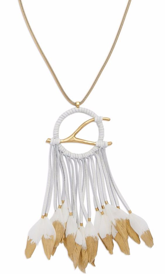Large Dream Catcher Pedant in Gold-Dipped White Leather