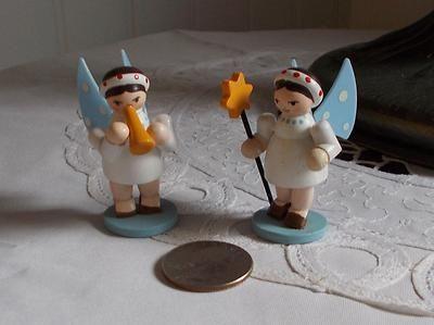 Vintage Erzgebirge 2 Small Angels German Wood Figurines Germany | eBay