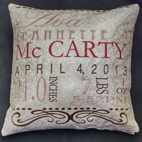 birth embroidery pillow black - Google Search
