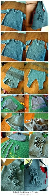 Felted sweater bag tutorial - in Chinese but pictures tell the story