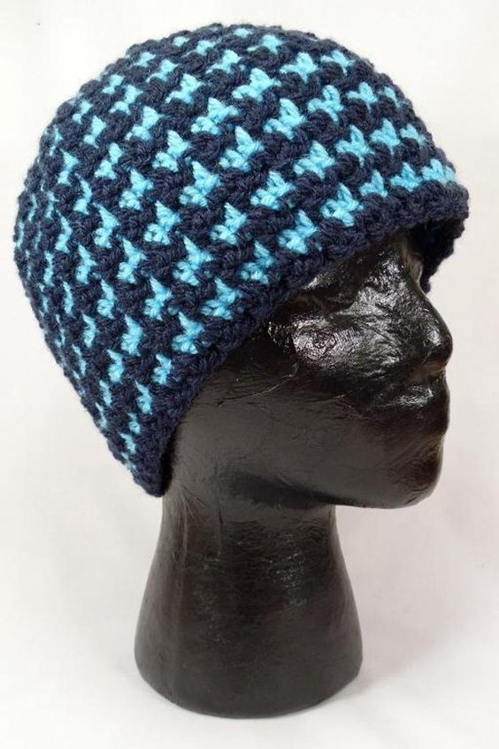 Free Crochet Pattern Houndstooth Hat : Houndstooth Beanie - Reversible Craftsy HATS Pinterest