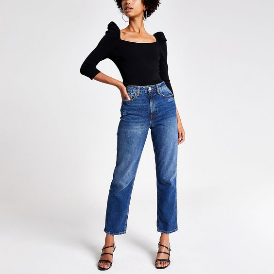 Black puff sleeve square neck top | River Island