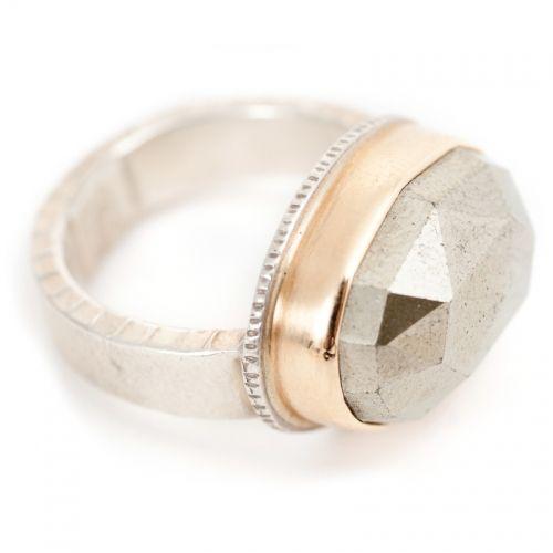 jamie joseph > silver/gold/pyrite ring
