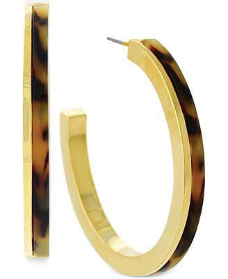 Vince Camuto Gold-Tone Tortoise Hoop Earrings
