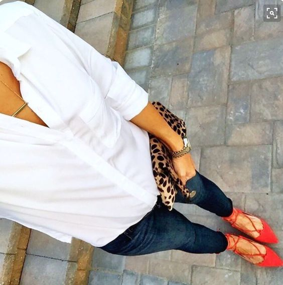 White classic James Perse button up, dark skinny jeans, red pumps with straps and leopard clutch. Stitch Fix 2016
