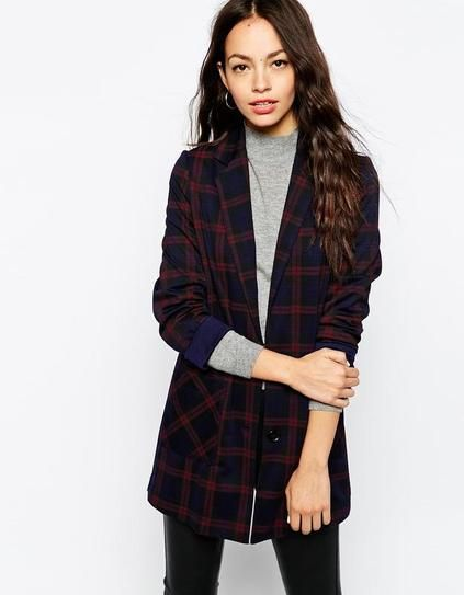 Plaid menswear inspired coat