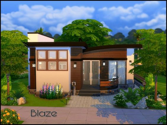 A small house with 1 bedroom 1 bathroom kitchen and for Sims 4 balcony