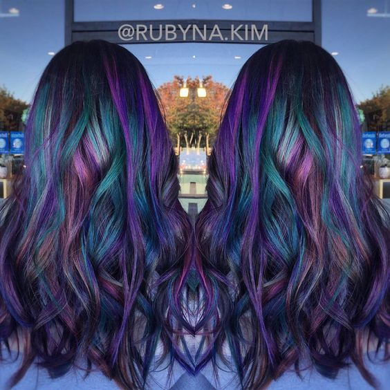 Oil Slick Rainbow Hair Color Short Hair Cut Black Base Pink Purple - Peacock hairstyle color