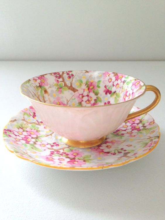 Antique Shelley Maytime Chintz Pattern Oleander Shape English Fine Bone China Rare Teacup and Saucer