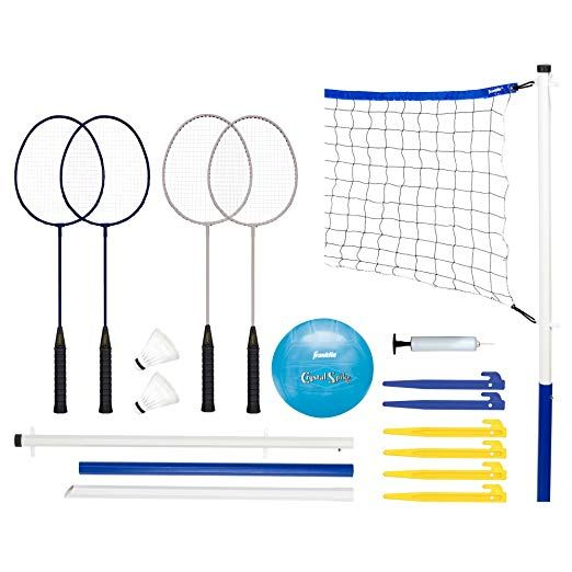 Franklin Sports Recreational Badminton And Volleyball Combo Set Badmintoncomboset Badminton Volleyball Set Badminton Set Badminton