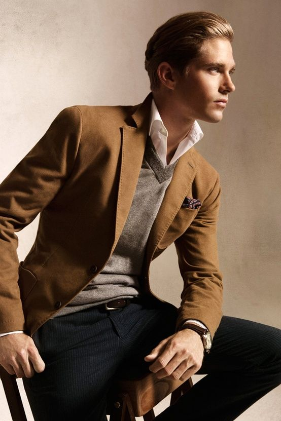 Awesome brown jacket gray sweater fashion men
